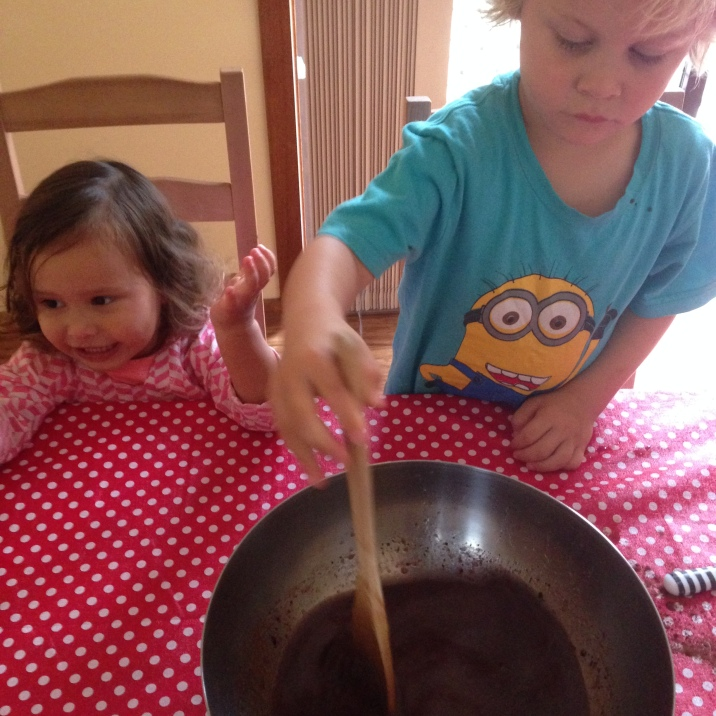 Carefully stirring
